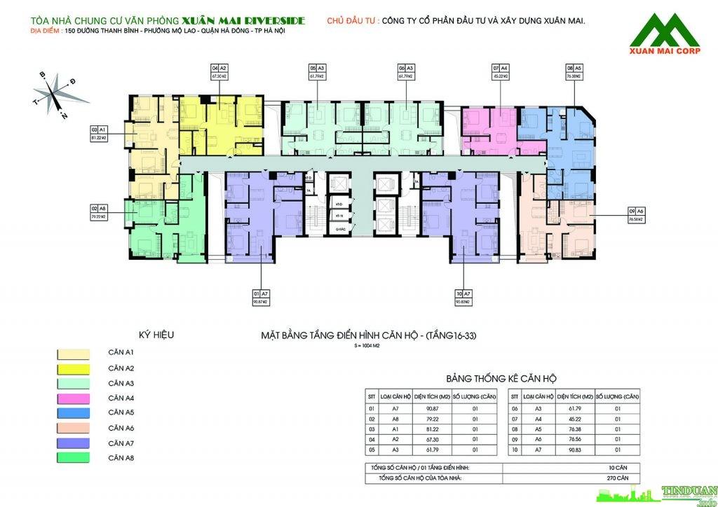 Mặt bằng căn hộ từ tầng 16 đến tầng 33