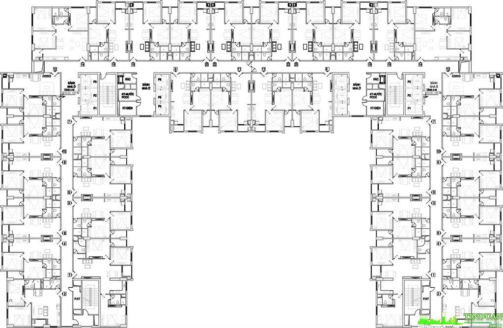 Mặt bằng tầng điển hình từ tầng 3 đến tầng 18