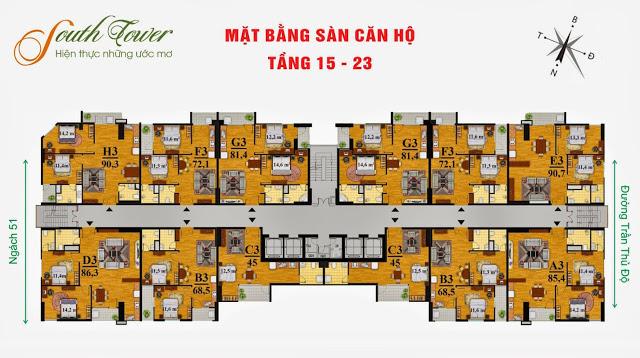 Mặt bằng điển hình từ tầng 15 đến tầng 23 chung cư South Tower Hoàng Liệt