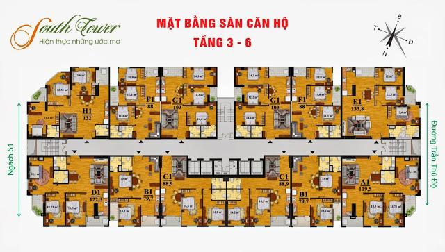 Mặt bằng từ tầng 3 đến tầng 6 chung cư South Tower Hoàng Liệt