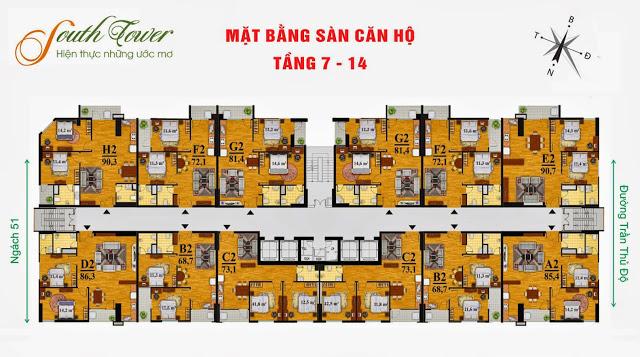 Mặt bằng điển hình từ tầng 7 đến tầng 14 chung cư South Tower Hoàng Liệt
