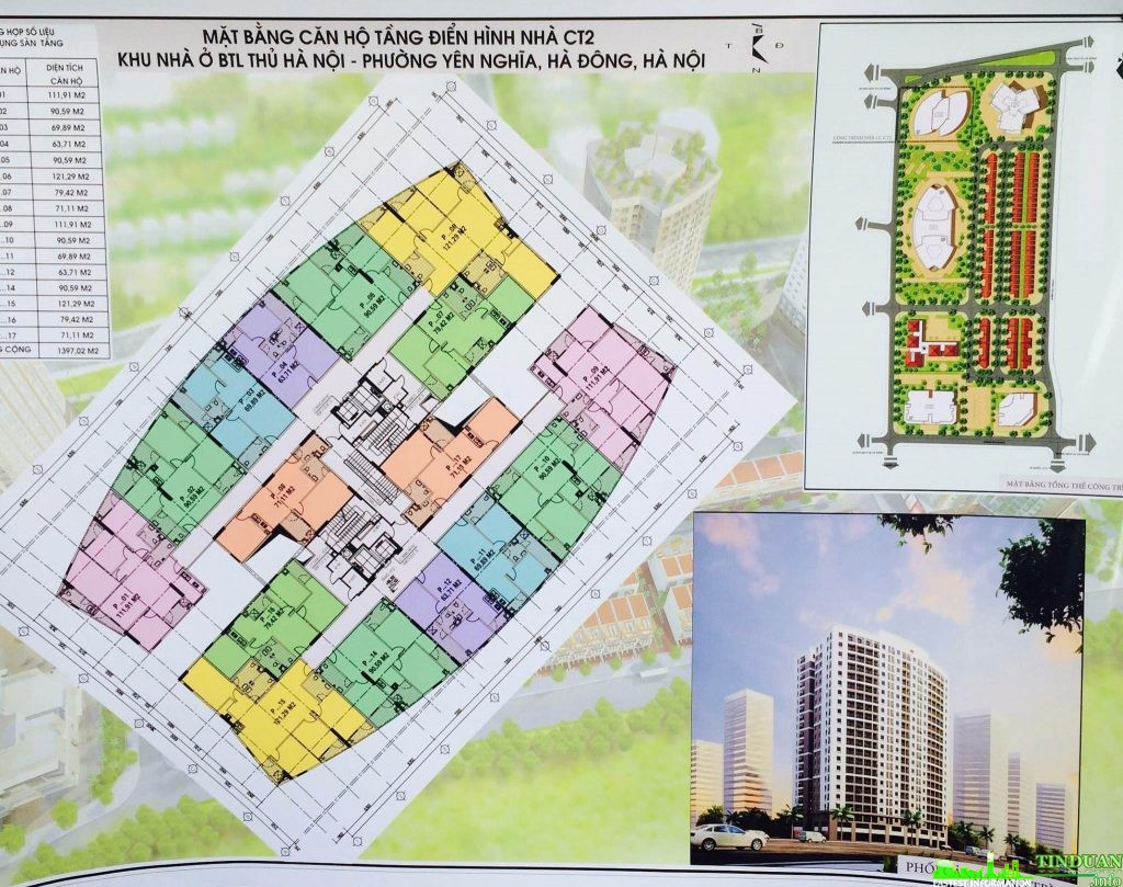 Mặt bằng tầng điển hình chung cư CT2 Yên Nghĩa - Bộ tư lệnh thủ đô