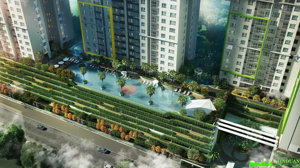 Vườn xanh thẳng đứng với 4 tầng nổi thông liền cả 4 tòa