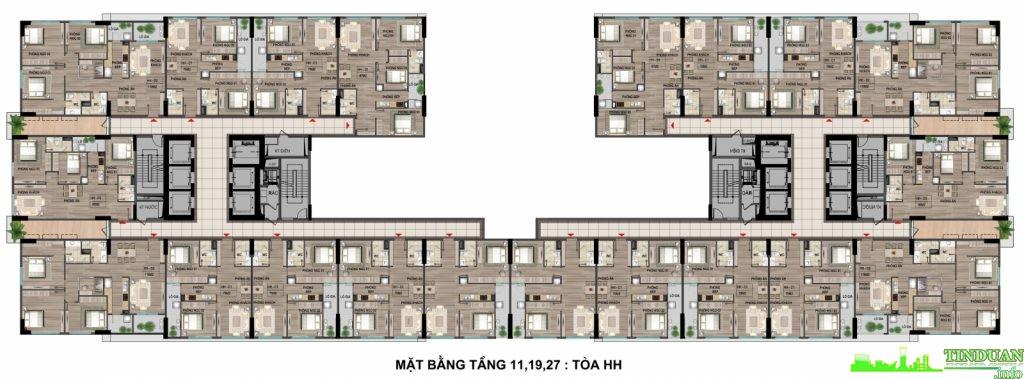 Mặt bằng tầng điển hình 11-19-27 tòa HH