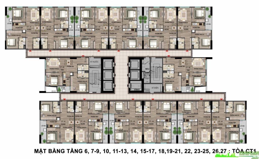 Mặt bằng tầng điển hình tầng 6-7-9-10–11–13–14–15–17–18–19–21-22–23–25–26–27 tòa CT1