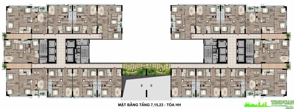 Mặt bằng tầng điển hình 6-15-23 tòa HH