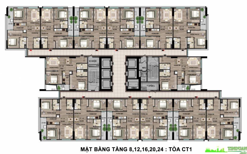 Mặt bằng tầng điển hình tầng 8-12-16-20-24 tòa CT1