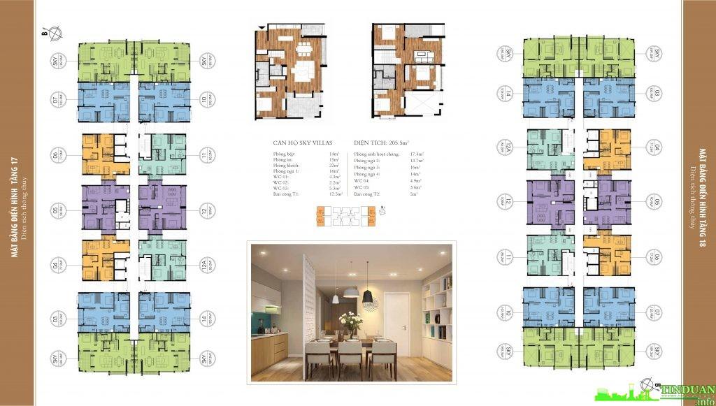Mặt bằng điển hình tầng 17 chung cư One 18