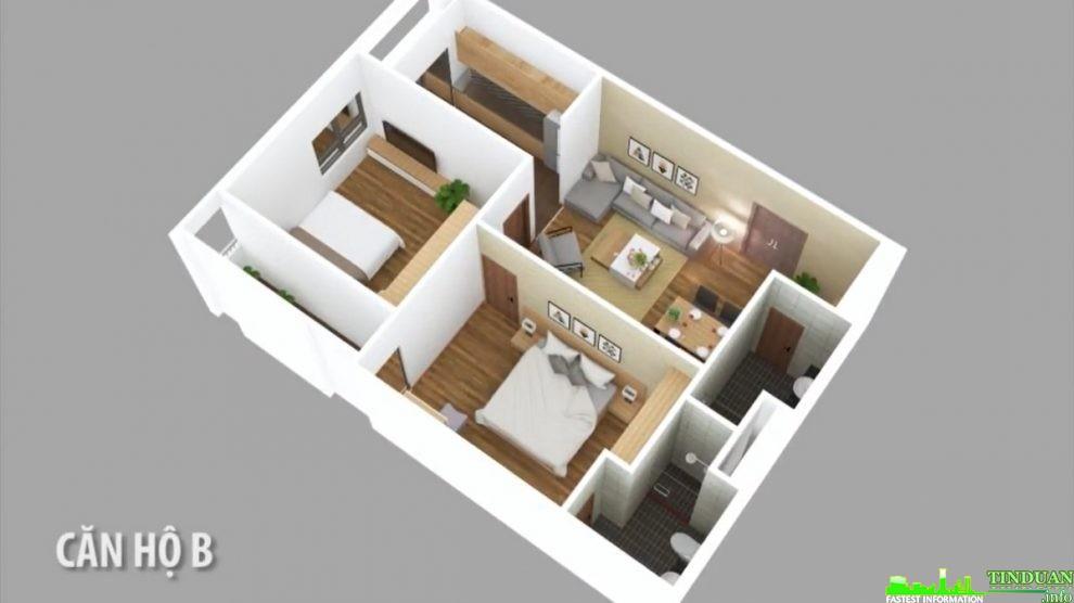 Phối cảnh 3D căn hộ loại B dự án Osaka Complex