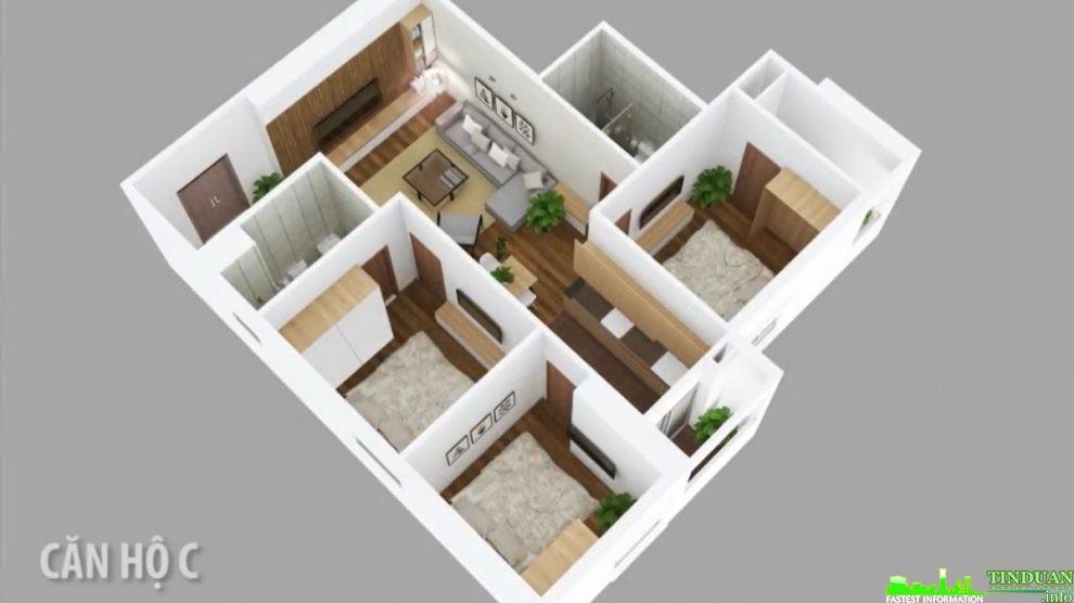 Phối cảnh 3D căn hộ loại C dự án Osaka Complex