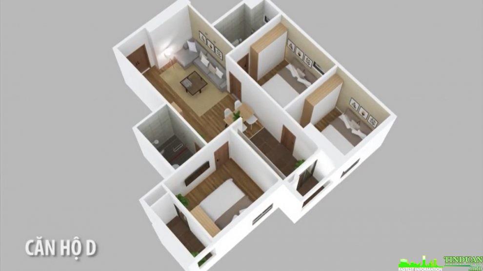 Phối cảnh 3D căn hộ loại D dự án Osaka Complex