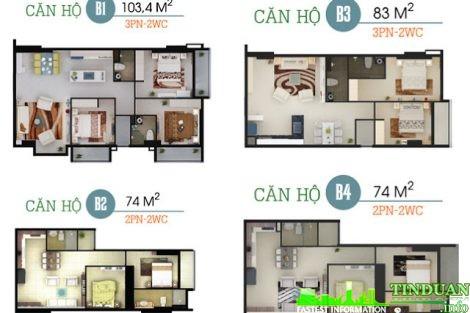 Phối cảnh 3D căn B1-B2-B3-B4 chung cư Oriental Plaza 16 Láng Hạ