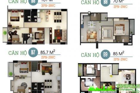 Phối cảnh 3D căn B6-B7-B8-B9 chung cư Oriental Plaza 16 Láng Hạ