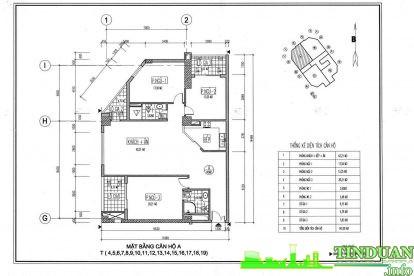 Thiết kế 2D căn hộ loại A Chung cư Viwaseen Tower.