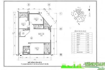 Thiết kế 2D căn hộ loại B Chung cư Viwaseen Tower.