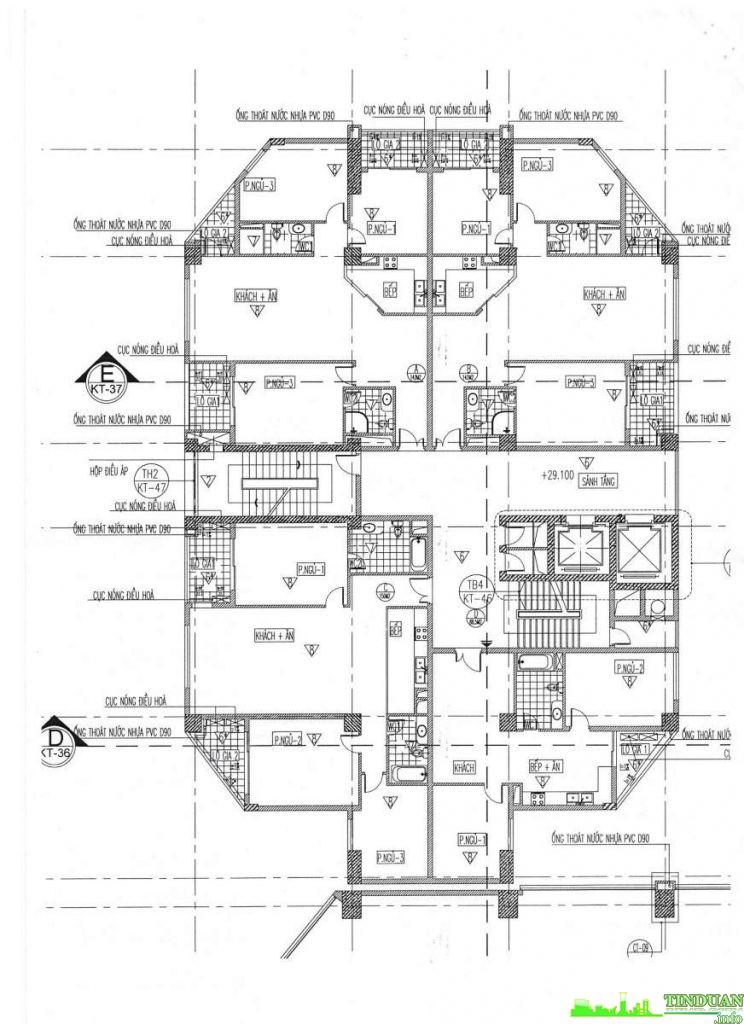 Mặt bằng tầng điển hình tòa căn hộ chung cư Viwaseen Tower