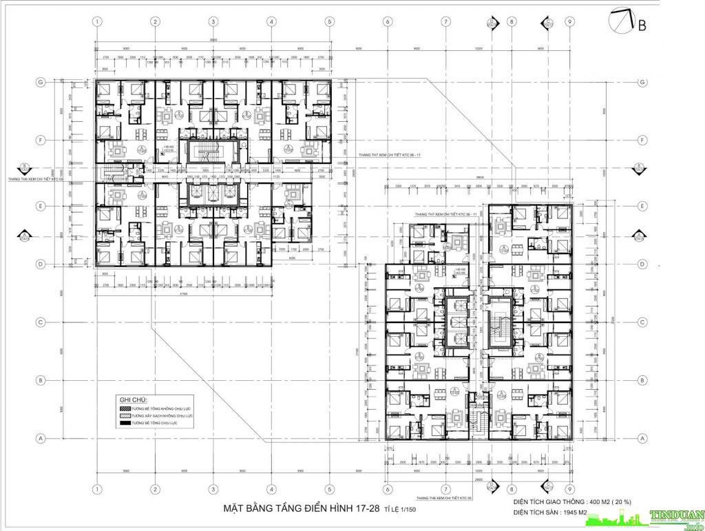 Mặt bằng tầng điển hình tầng 17 đến tầng 28 chung cư Stellar Palace 35 Lê Văn Thiêm
