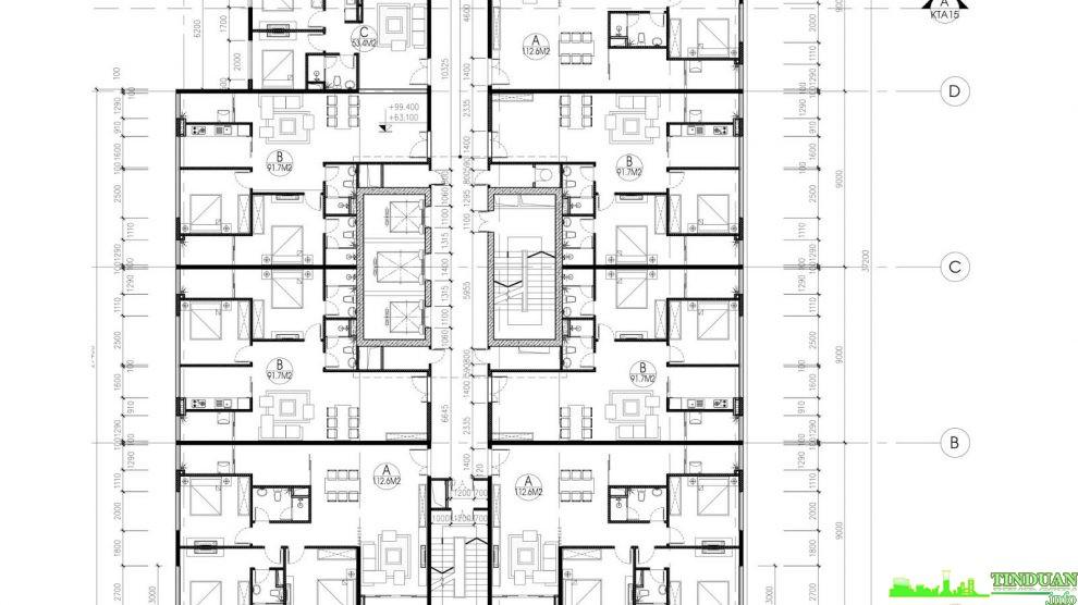 Mặt bằng tầng điển hình tầng 17 đến tầng 28 Tòa B chung cư Stellar Palace 35 Lê Văn Thiêm