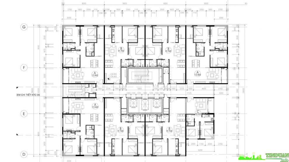 Mặt bằng tầng điển hình tầng 6 đến tầng 16 tòa A chung cư Stellar Palace 35 Lê Văn Thiêm