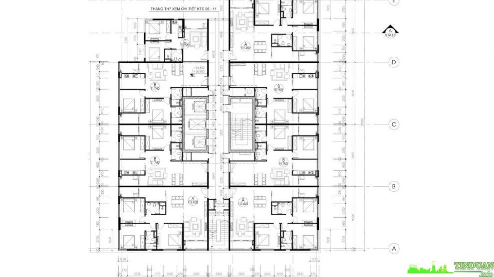 Mặt bằng tầng điển hình tầng 6 đến tầng 16 tòa B chung cư Stellar Palace 35 Lê Văn Thiêm