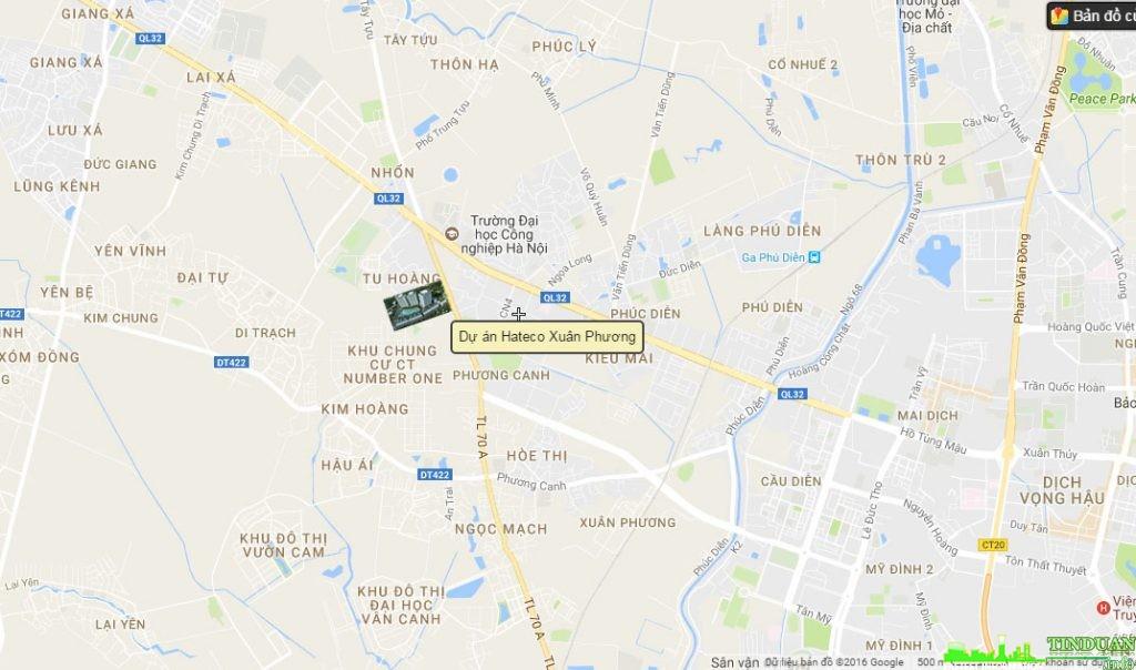 Vị trí dự án chung cư Hateco Xuân Phương