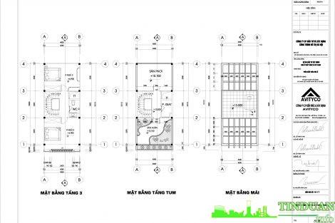 Mẫu thiết kế NV 2.20 tầng 3 và tầng mái