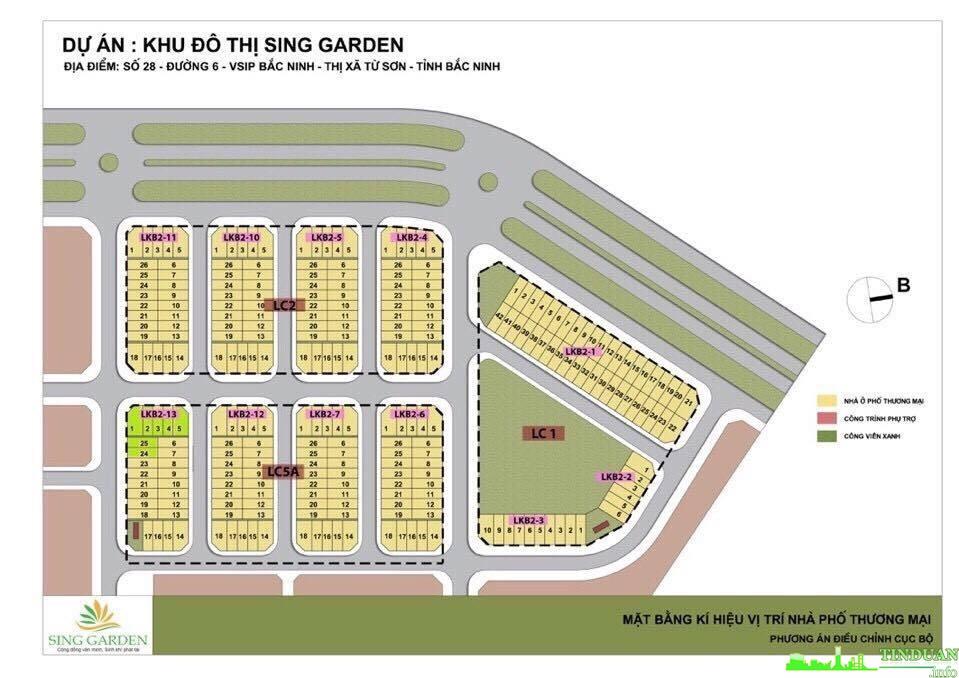 Mặt bằng tổng thể dự án nhà phố thương mại Sing Garden Từ Sơn Bắc Ninh