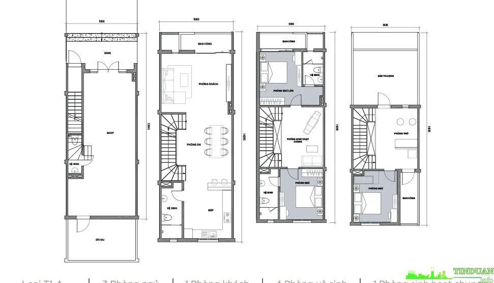 Phối cảnh 2D mặt bằng các tầng 1,2,3 dự án Sing Garden Bắc Ninh