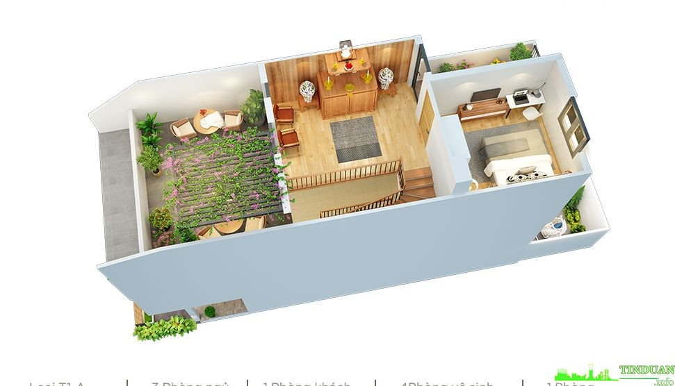 Phối cảnh 3D mặt bằng tầng 2 dự án Sing Garden Bắc Ninh