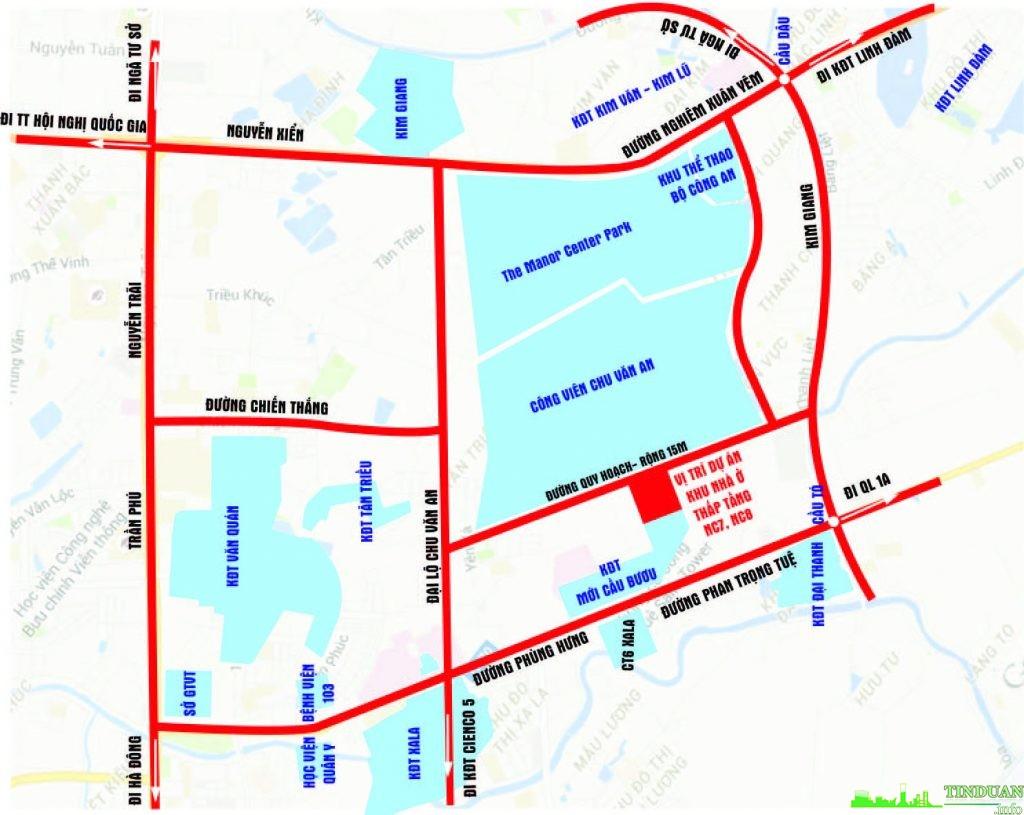 Vị trí của lô đất NC7-NC8 trên bản đồ quy hoạch