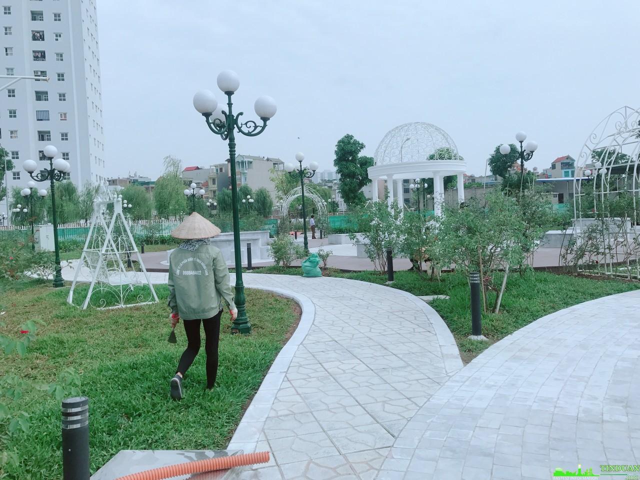Công nhân Savills chăm sóc sân vườn tiểu cảnh dự án The Eden Rose Biệt thự hoa hồng