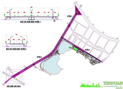 Sơ đồ tuyến đường số 1 và số 5 kết nối với Nguyễn Xiển và đường Phan Trọng Tuệ