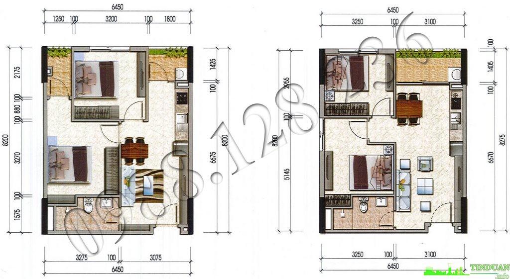 Thiết kế căn hộ loại C1 C2 nhà ở xã hội CT3 CT4 - Thăng Long Green City Kim Chung