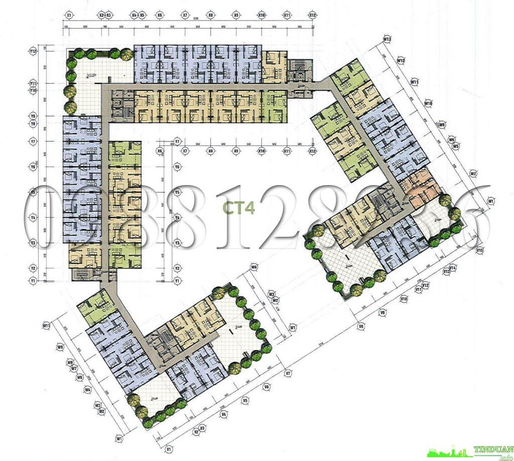 Mặt bằng tòa CT4 nhà ở xã hội CT3 CT4 - Thăng Long Green City Kim Chung