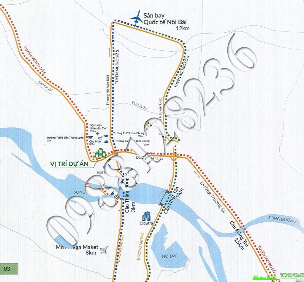 Vị trí nhà ở xã hội CT3 CT4 - Thăng Long Green City Kim Chung Đông Anh