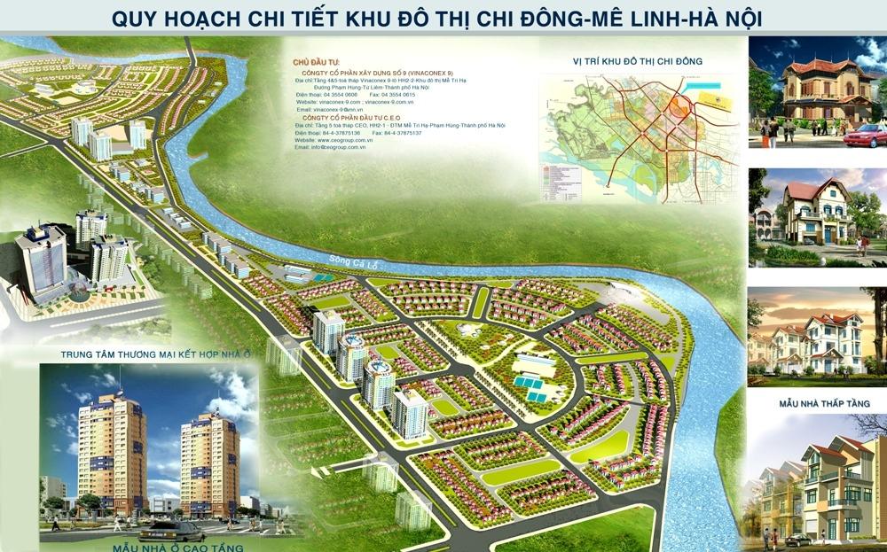 Phối cảnh tổng thể dự án Khu đô thị Chi Đông Mê Linh
