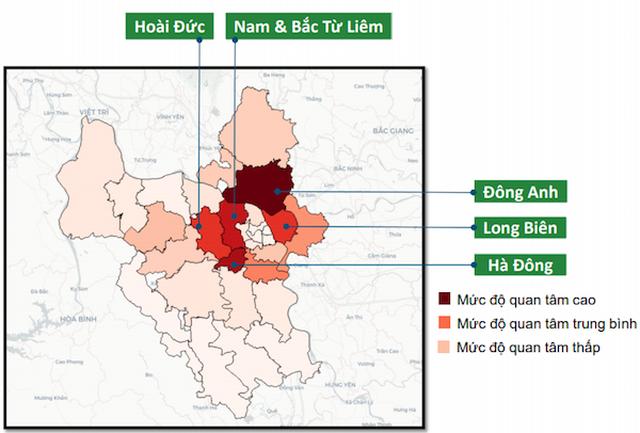 Thống kê lưu lượng tìm kiếm các quận huyện Hà Nội