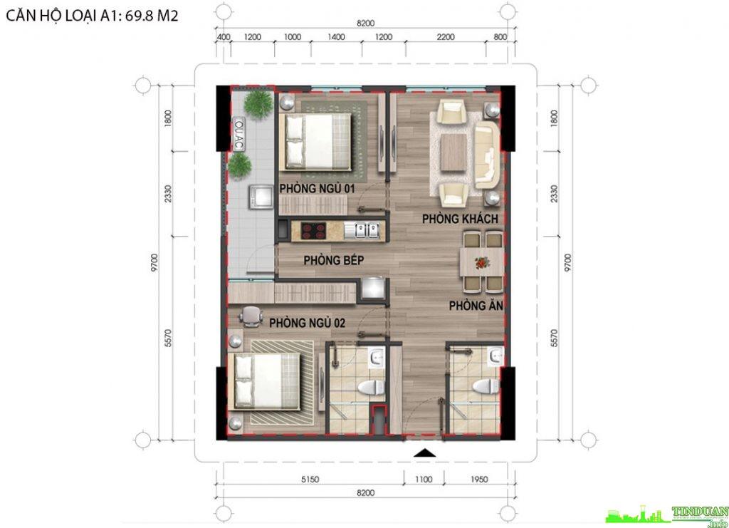 Thiết kế căn hộ A1 69,8m2