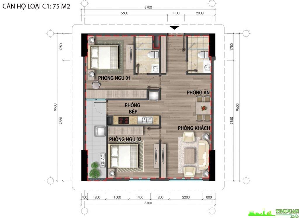 Thiết kế căn hộ C1 75m2
