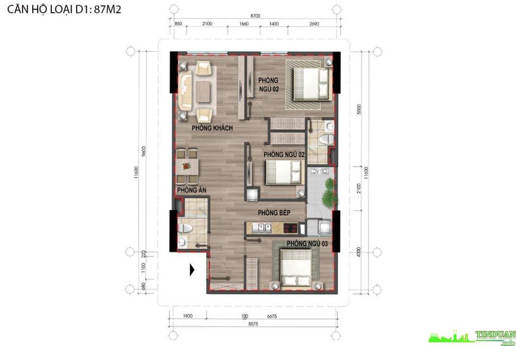 Thiết kế căn hộ D1 87m2