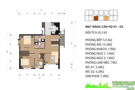 Thiết kế căn hộ D1 và D2