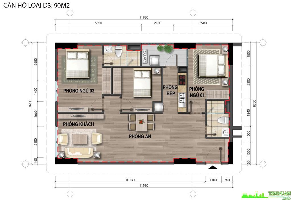 Thiết kế căn hộ D3 90m2