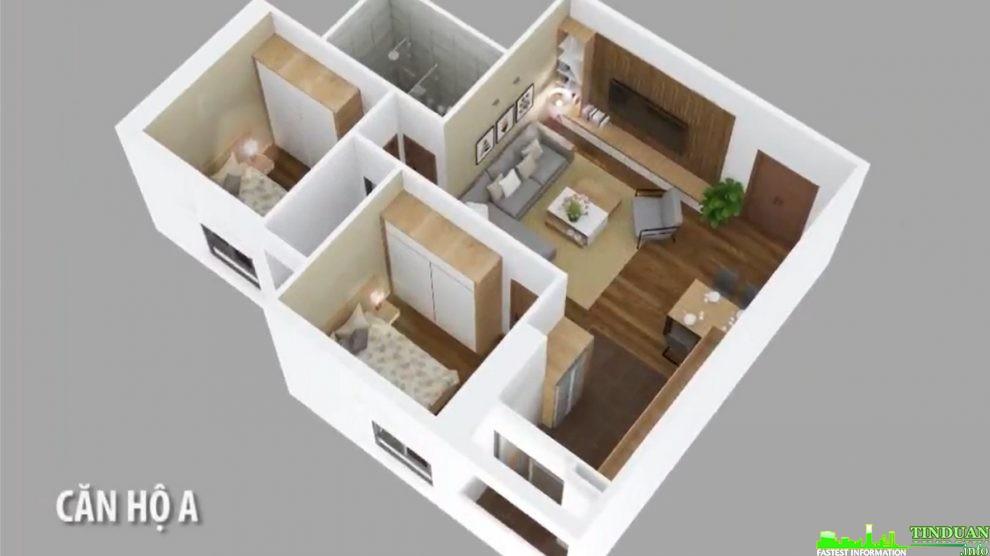 Phối cảnh 3D căn hộ loại A dự án Osaka Complex