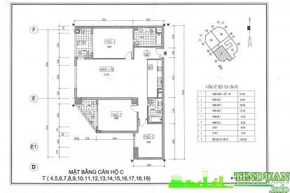 Thiết kế 2D căn hộ loại C Chung cư Viwaseen Tower.