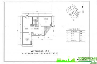 Thiết kế 2D căn hộ loại D Chung cư Viwaseen Tower.