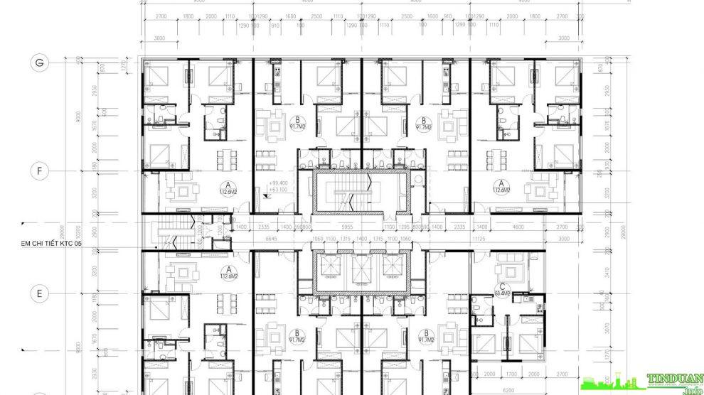 Mặt bằng tầng điển hình tầng 17 đến tầng 28 Tòa A chung cư Stellar Palace 35 Lê Văn Thiêm