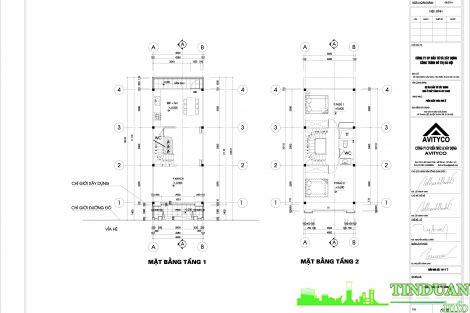 Mẫu thiết kế NV 2.20 tầng 1 và tầng 2