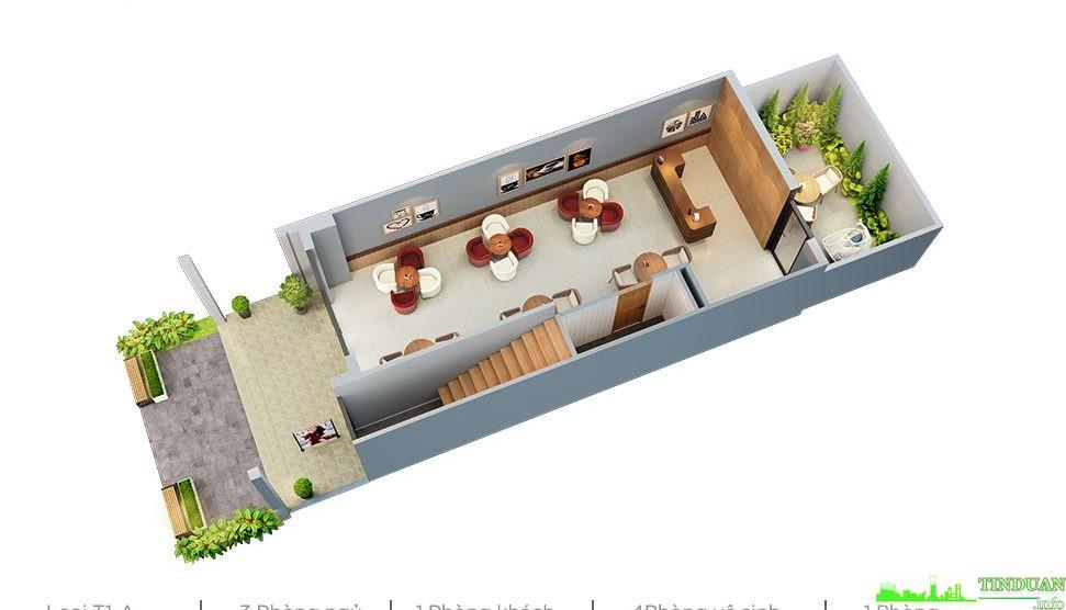 Phối cảnh 3D mặt bằng tầng 1 dự án Sing Garden Bắc Ninh