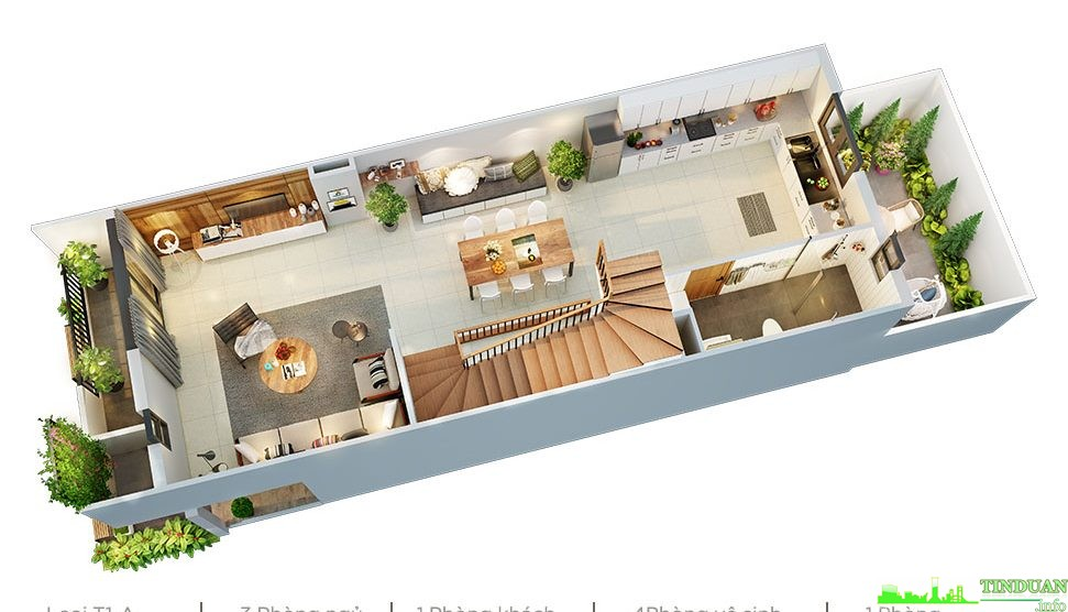 Phối cảnh 3D mặt bằng tầng 3 dự án Sing Garden Bắc Ninh