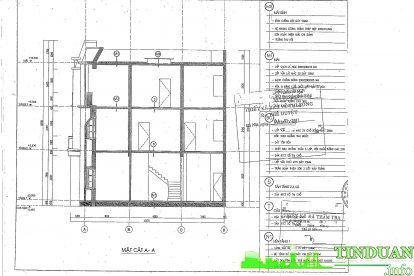 Thiết kế mặt cắt dọc căn hộ mẫu